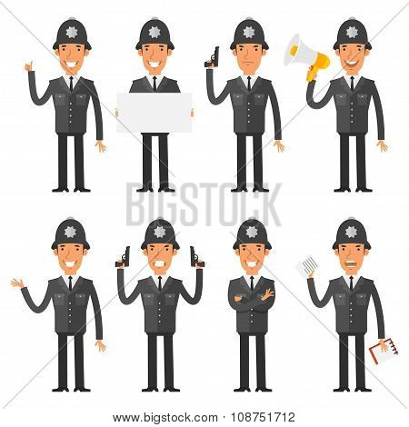 English policeman in different poses