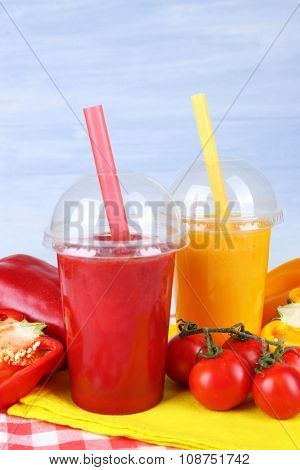Fresh juice mix fruit and vegetables, healthy drinks on wooden table background