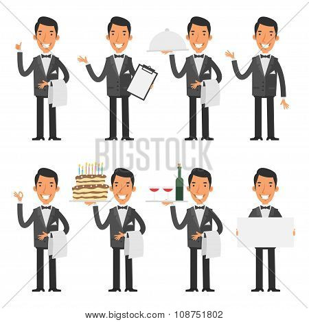 Waiter in various poses