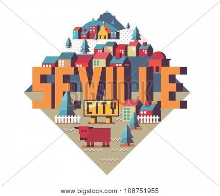 Seville in Spain is Beautiful city to visit on holiday, vector cartoon illustration