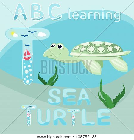 T Is For Turtle ABC animal letter T is for Turtle Smiling sea turtle vector Ocean animal cartoon cha