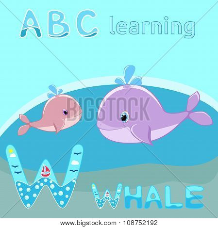 W is for Whale Baby whale with water splash vector illustration Cute cartoon whale ve