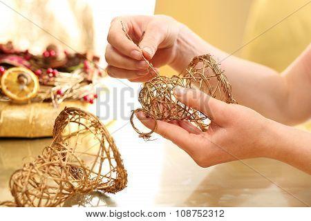Christmas tree toy bells braided sticks