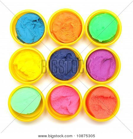 Containers With Colorful Plasticine