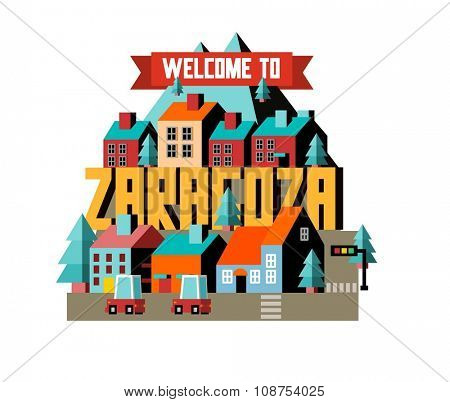 Zaragoza in Spain is Beautiful city to visit on holiday, vector cartoon illustration