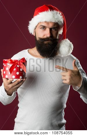 New Year Man With Gift Box