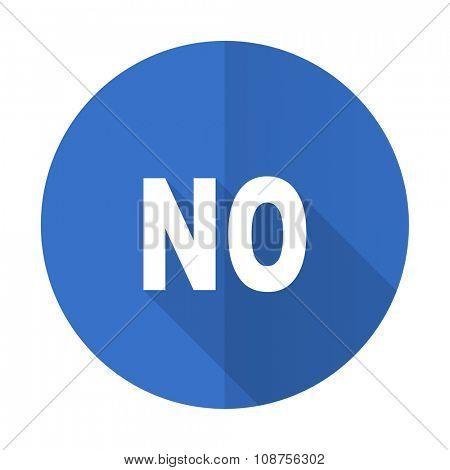 no blue web flat design icon on white background