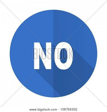 no blue web flat design icon on white background