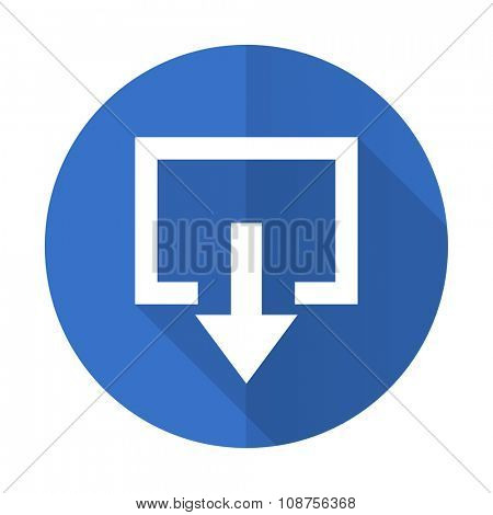 exit blue web flat design icon on white background