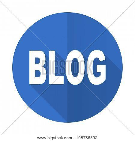 blog blue web flat design icon on white background