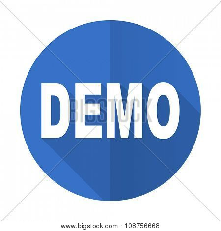 demo blue web flat design icon on white background