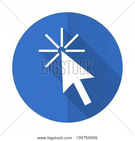 click here blue web flat design icon on white background