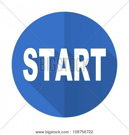 start blue web flat design icon on white background