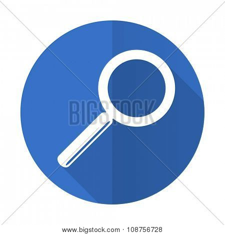 search blue web flat design icon on white background