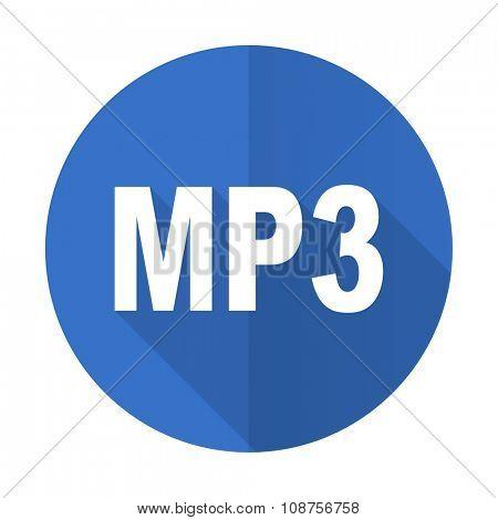 mp3 blue web flat design icon on white background