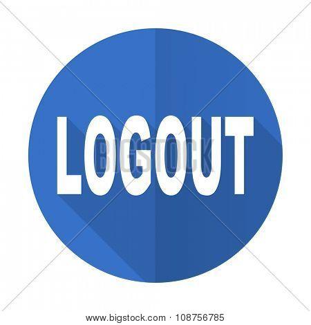 logout blue web flat design icon on white background