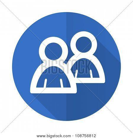 forum blue web flat design icon on white background