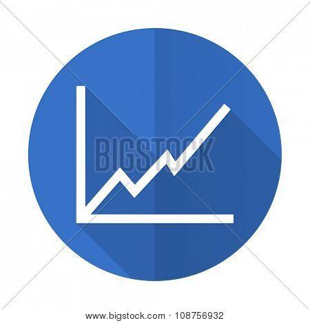 chart blue web flat design icon on white background