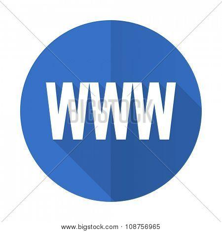 www blue web flat design icon on white background