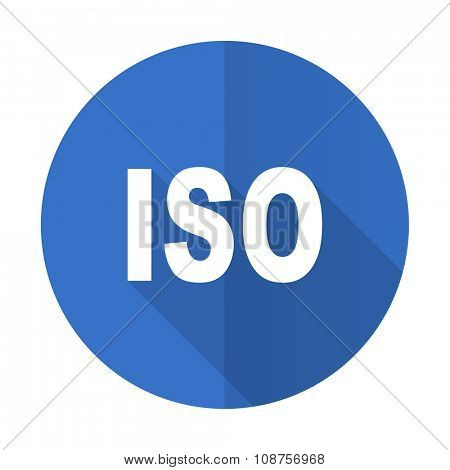iso blue web flat design icon on white background