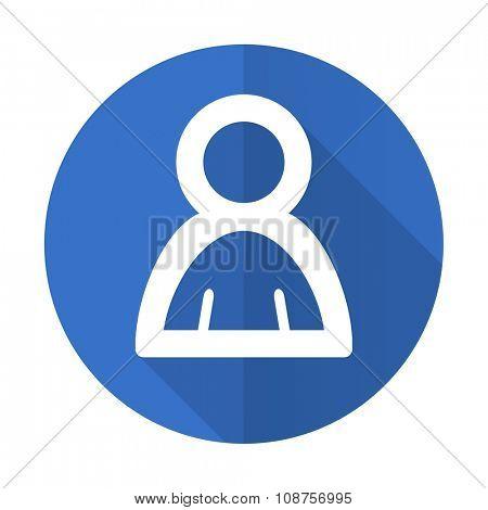 person blue web flat design icon on white background