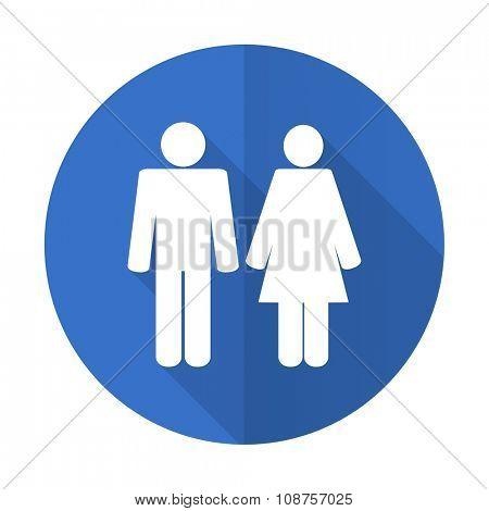 couple blue web flat design icon on white background