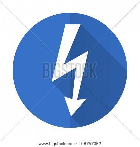 bolt blue web flat design icon on white background