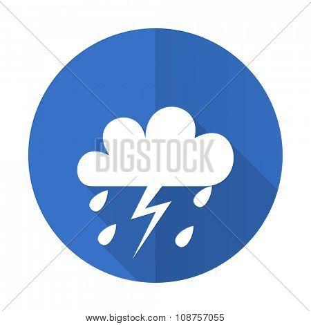storm blue web flat design icon on white background