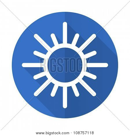sun blue web flat design icon on white background