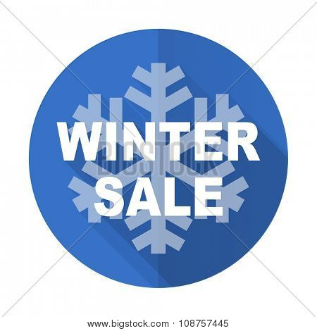 winter sale blue web flat design icon on white background