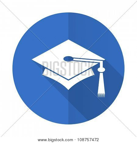 education blue web flat design icon on white background