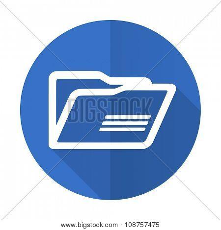 folder blue web flat design icon on white background