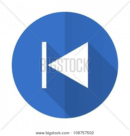 prev blue web flat design icon on white background