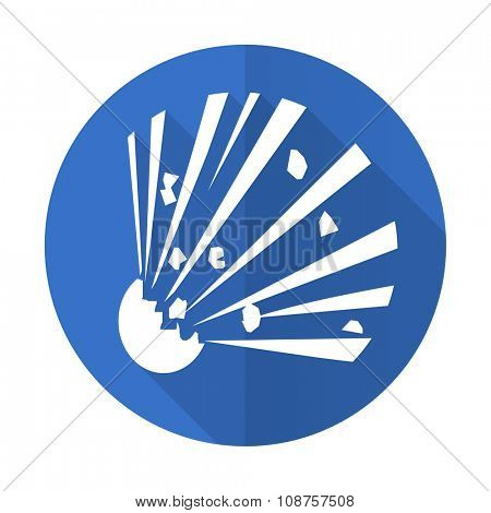 bomb blue web flat design icon on white background
