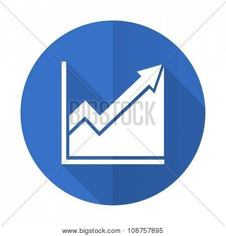 histogram blue web flat design icon on white background