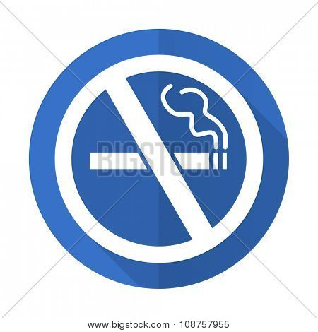 no smoking blue web flat design icon on white background