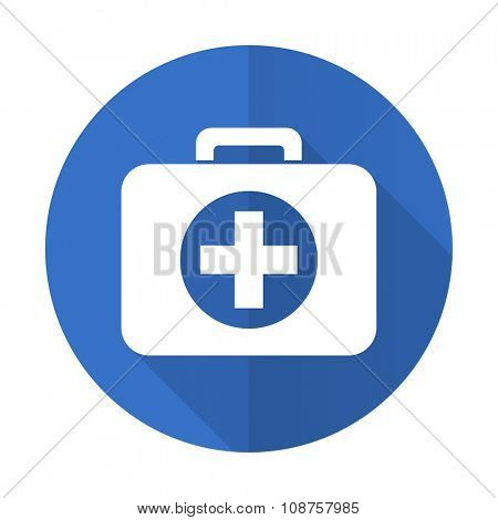 first aid blue web flat design icon on white background