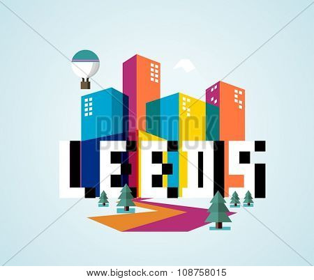 Leeds in England is Beautiful city to visit on holiday, vector cartoon illustration