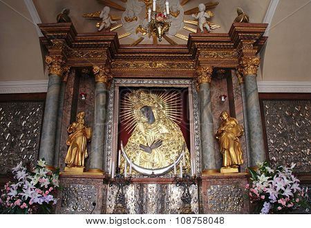 Holy Icon Of Mother Of God Ostrobramska In Vilnius, Lithuania.