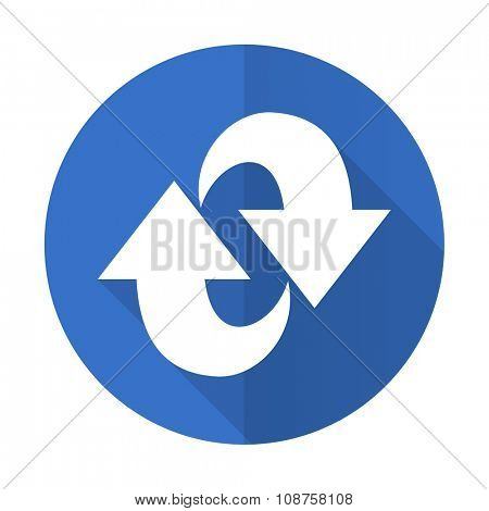 rotation blue web flat design icon on white background