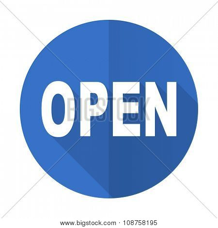 open blue web flat design icon on white background