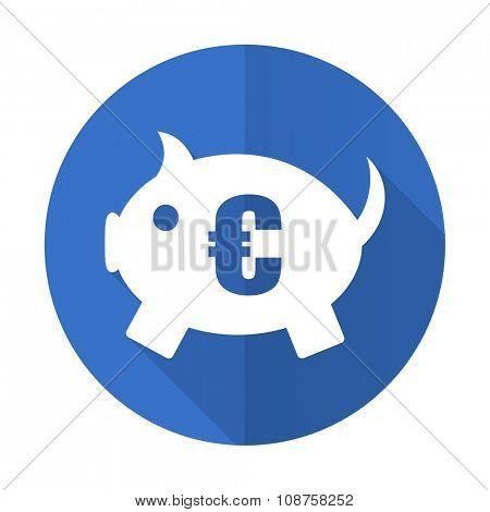 piggy bank blue web flat design icon on white background