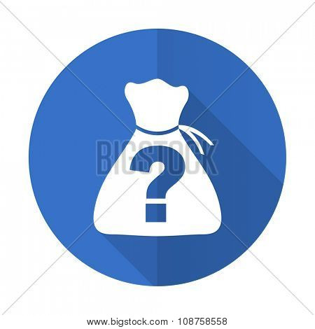 riddle blue web flat design icon on white background