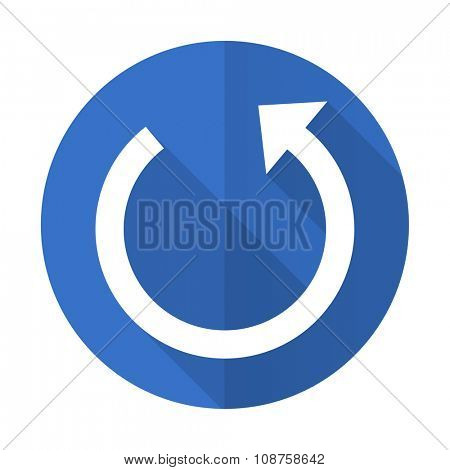 rotate blue web flat design icon on white background
