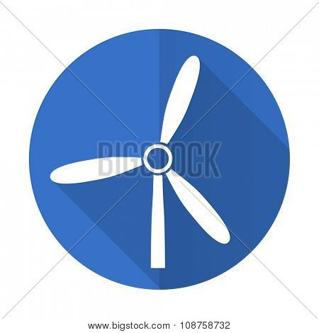 windmill blue web flat design icon on white background