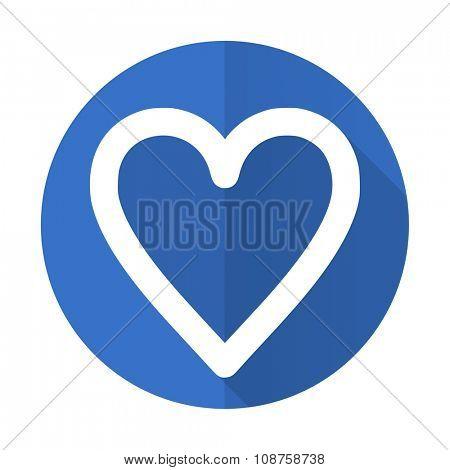 heart blue web flat design icon on white background