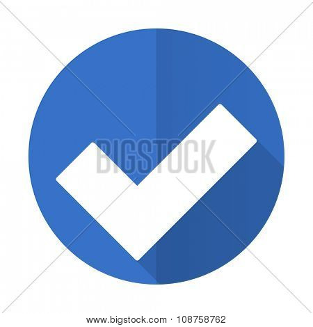 accept blue web flat design icon on white background