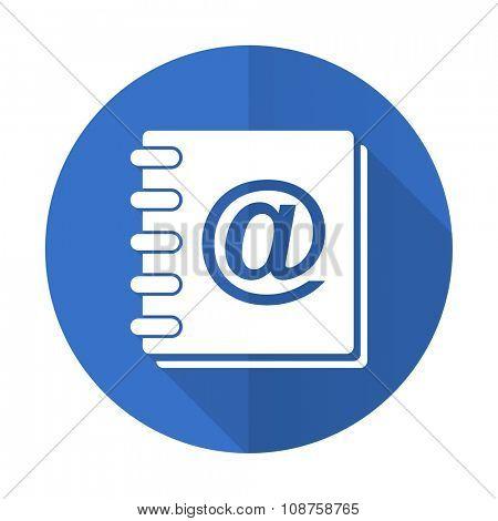 address book blue web flat design icon on white background