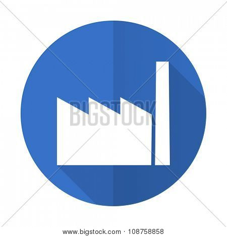 factory blue web flat design icon on white background