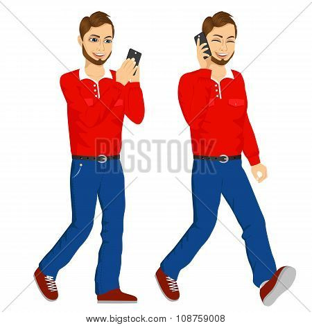 two happy young men walking with smartphone